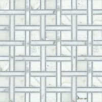 Parker, a natural stone mosaic shown in Bardiglio, polished Calacatta Tia, is part of the Silk Road Collection by Sara Baldwin for New Ravenna Mosaics. <br /> <br /> Take the next step: prices, samples and design help, http://www.newravenna.com/showrooms/