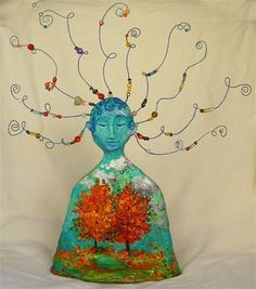 """Papier mache, wire, paint, and beads used to create """"Dream or Imagination"""" figures. Many possible themes could be applied to this project."""