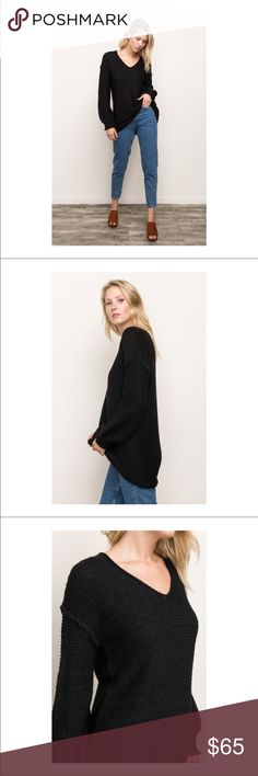 Mystree Cocoon Sleeve Sweater Mystree cocoon sleeve drop shoulder pullover.  Perfect with leggings or skinny jeans.   Material content: 50% acrylic  50% cotton Mystree Sweaters V-Necks