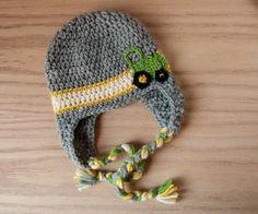 tractor earflap hat, baby boy hat, tractor hat, crochet hat, john deere baby