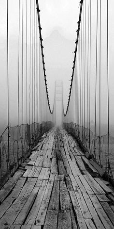 Bridge #photography #black #bridge #fog
