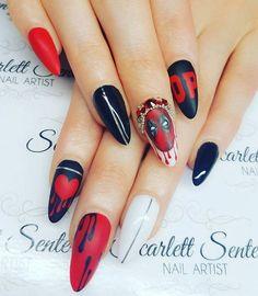 New nails art dark beautiful 47 Ideas Stiletto Nails, Gel Nails, Acrylic Nails, Superhero Nails, Marvel Nails, Nails 2017, Nails For Kids, Mary Janes, New Nail Art