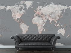 Silver World Map Wall Mural (3.15m x 2.32m)
