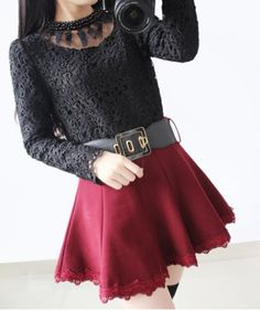 Vintage Round Collar Long Sleeves Voile Splicing Black Lace Blouse For Women