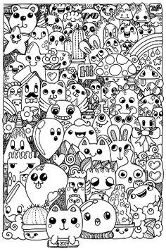 Kawaii Sweets Doodle Adult Coloring Page Printable Digital Download ...