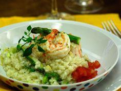 Risoto de camarão com limão siciliano e aspargos