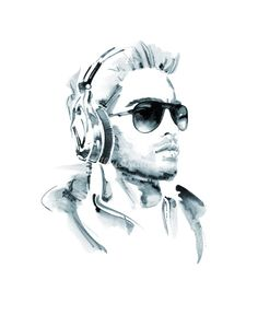 Male model with sunglasses and headphones illustration by Christian David Moore