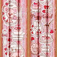 pale pink Piggy Girl glitter pencil strawberry cake tea