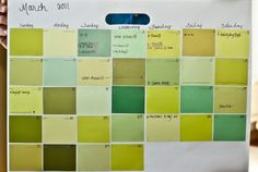 Paint Chips: If you had a smaller-scale project in mind, try your hand at this DIY paint chip calendar by Lori from Hey… Things Change! cut squares from leftover paint chips and pasted them on a Crayola floor pad. Using different hues for each page mixes it up a bit and make it a fun craft for her kids to do each month.