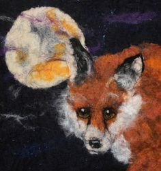 Wise Old Fox, beautiful felted picture of a fox and the moon, mounted ready to…