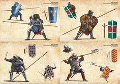 Medival military tactics for infantry. Medieval Weapons, Medieval Knight, Medieval Fantasy, Military Art, Military History, Military Tactics, Armadura Medieval, Templer, Early Middle Ages