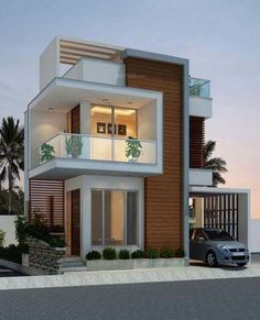 landscape architecture - 39 new modern exterior design ideas for your house 22 > Fieltro Net Bungalow House Design, House Front Design, Small House Design, Modern House Design, Front View Of House, Modern House Facades, Minimalist House Design, Front Elevation Designs, House Elevation