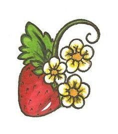 Single strawberry w flowers