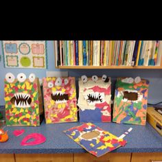 Monster mailboxes for valentines day.
