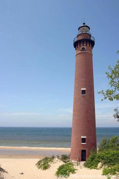 Little Sable Point Lighthouse, Lake Michigan. One of my favorite places. Lighthouse Pictures, Beacon Of Light, Great Lakes, Beautiful Places, Scenery, Around The Worlds, Exterior, Michigan Lake House, Lake Michigan Lighthouses