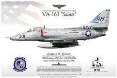 "A-4E-VA-163 ATTACK SQUADRON ONE HUNDRED SIXTY THREE VA-163 ""Saints"" pilot CDR Wynn Franklin Foster SILVER STAR medal awarded USS Oriskany (CVA-34) - AIR WING 16 Vinh, North Vietnam. July 23rd, 1966 On July 23rd, 1966 over Vinh in North Vietnam, the vietnamese anti aircraft artillery hit the A-4E of the 39 years old Commander Wynn Franklin Foster, belonging to VA-163 based on carrier USS Oriskany."
