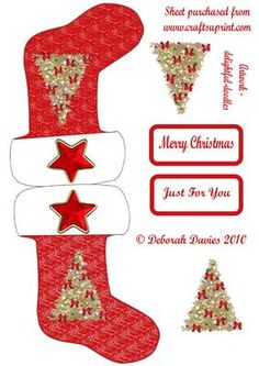 Christmas Sock on Craftsuprint designed by Deborah Davies - Great sparkly christmas sock with extra toppers and text plates. Please click on my name for more designs added daily. - Now available for download! Christmas Paper Plates, Christmas Decoupage, Christmas Card Crafts, Miniature Christmas, Christmas Minis, Diy Christmas Ornaments, Christmas Sock, Christmas Decor, Christmas Stocking Template