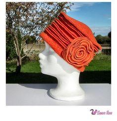 Bonnet chapeau d'hiver en laine bouillie femme orange doux Charleston