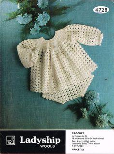 Ladyship 4728 baby matinee dress and pants set vintage crochet pattern PDF instant download
