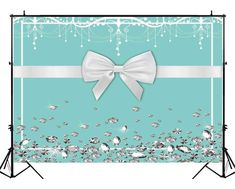 Funnytree Breakfast Bowknot Co Blue Backdrop Turquoise Bow Diamonds Sweet 16 Birthday Party Background Bridal Shower Wedding Dessert Cake Table Decorations Photo Booth Banner Tiffany Birthday Party, Tiffany Party, Tiffany Wedding, Birthday Brunch, Sweet 16 Birthday, 16th Birthday, Birthday Parties, Tiffany Theme, Azul Tiffany