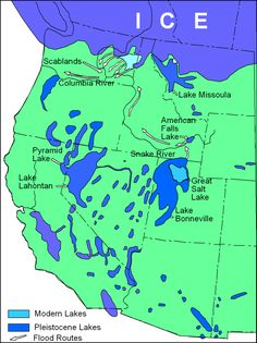 Pleistocene pluvial lakes of the Basin n Range and adjacent areas of California, Oregon, Washington and Montana