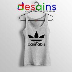 60c8c136b559d Cheap Tank Top Cannabis Leaf Adidas Funny Parody S-3XL