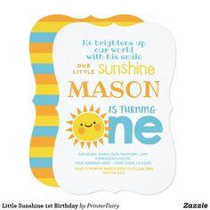 Shop Little Sunshine Birthday Invitation created by PrinterFairy. Sunshine Birthday Parties, Boy Birthday Parties, First Birthday Invitations, Cool Technology, Create Your Own Invitations, 1st Birthdays, Zazzle Invitations, Rsvp, Party