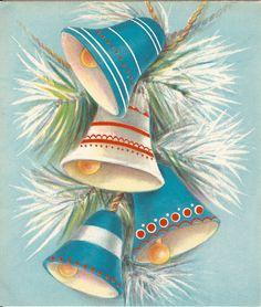 A Vintage Christmas card. Christmas Jingles, Old Christmas, Old Fashioned Christmas, Retro Christmas, Christmas Bells, Christmas Holidays, Christmas Crafts, Vintage Greeting Cards, Christmas Greeting Cards