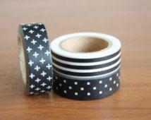 Washi Tape Set, Washi Tape, Swiss Cross Tape, scandinavian Washi Tape, Wall Tape, Black Washi Tape, Striped Washi Tape, Decor…