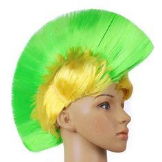 Hot Rainbow Mohawk Hair Wig Fancy Costume Punk Rock Wigs Halloween Cosplay Party