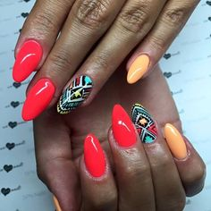 Beautiful #AZTEC patterns in the surroundings of two amazing colours of Gel LaQ's - our #nailgels with a brush. #SPNnailsUK #GelLaQ used: 145 Mandarin Liqueur & 157 Strawberry Margarita. #Nails by: WoMen Health & Beauty Center - SPN Nails Team Poland