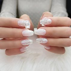 Wedding Natural Gel Nails Design Ideas For Bride 2019 The Best Wedding Nails 2020 Trends Lace Nails Bridal Nails The Most Stunning Wed. Pink Nail Art, White Nail Art, Glitter Nail Art, Bride Nails, Prom Nails, Weddig Nails, Bride Wedding Nails, Wedding Nails For Bride Natural, Winter Wedding Nails
