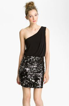 Way-In Sequin Skirt One Shoulder Dress (Juniors) available at #Nordstrom. So easy to wear sparkles when the dress is a shirt/skirt combo like this. LOVE. #nordstromsweeps