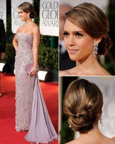Romantic-Style of Jessica Alba Bobby Pinned Updo Hairstyle at The 2012 Golden Globe Awards Pictures | InStyle Ideas