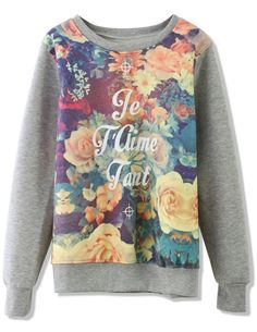 Grey Long Sleeve Floral Letters Print Sweatershirt 0
