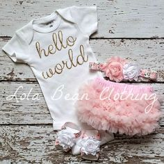 Check out this item in my Etsy shop https://www.etsy.com/listing/242499802/ready-to-ship-baby-girl-take-home-outfit
