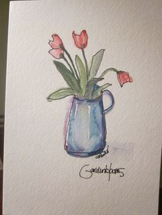 Tulips In Pitcher Watercolor Card by gardenblooms on Etsy, $3.50