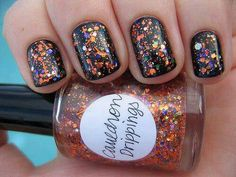 Black base makes brighter colors and glitter stand out