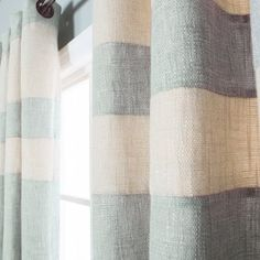 -Striped Heavyweight Textured Faux Linen Grommet Top curtains are a contemporary addition to home decor-Color-coordinated striped detailing adds contemporary lines and texture-Available in 6 colors: Aqua, Burgundy, Cream, Grey, Mint and Sage-Measurement : Each panel measures 52