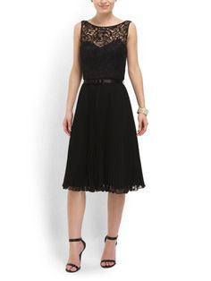 Lace Bodice And Pleated Dress - Dresses - T.J.Maxx