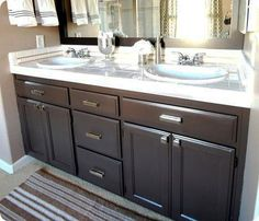 Painting Bathroom Oak Cabinets staining oak cabinets an espresso color {diy tutorial} | laminate