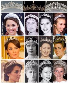 Tiaras Kate has worn and how they looked on past royals.