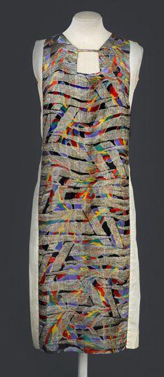 1925-28, Sonia Delauney printed silk satin dress with metallic embroidery...what a gorgeous textile!