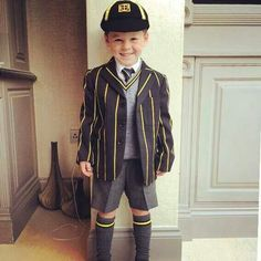 Kai Rooney looking smart for his first day of school.