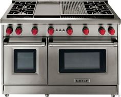 """Wolf GR486G 48"""" Pro-Style Gas Range with 6 Dual-Stacked Sealed Burners, Griddle, 4.4 cu. ft. Convection Large Oven, Infrared Broiler, Red Control Knobs and Island Trim: Natural Gas"""