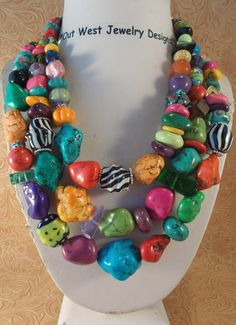 Cowgirl Necklace Set  Chunky Multicolored by Outwestjewelry
