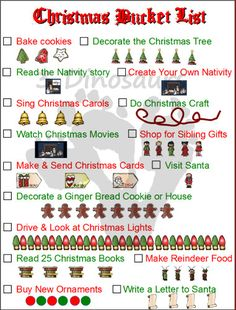 Christmas Bucket lists - 4 Types 3 blank and 1 Filled in - 3Dinosaurs.com
