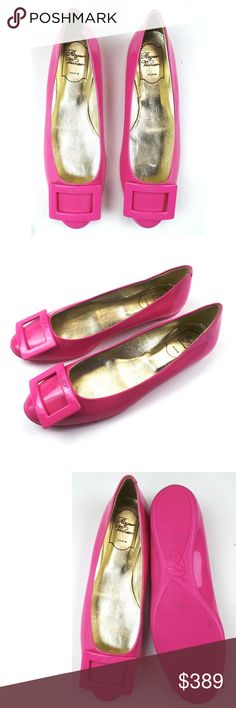 ROGER VIVIER Patent Leather Buckle Ballet Flats ROGER VIVIER Pink Patent Leather Square Buckle Slides Shoe Ballet Flats Size 9.5 US 39.5 Roger Vivier Shoes Flats & Loafers