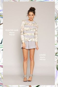 Pleated Jane Blouse and the Louise Shorts. SHOP www.whitneyeve.com