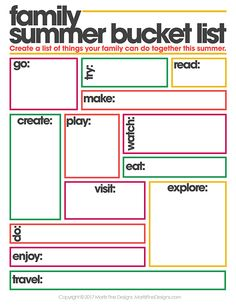 free summer printables | family summer bucket list | fun summer activities for families | free printables